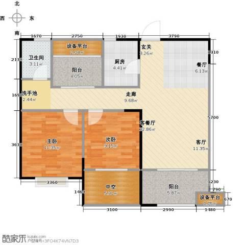 宏江中央广场2室1厅1卫1厨90.00㎡户型图