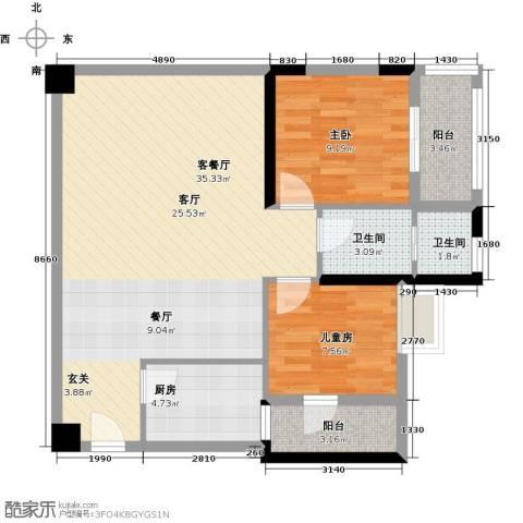 钱隆樽品三期波士堂2室1厅2卫1厨79.00㎡户型图