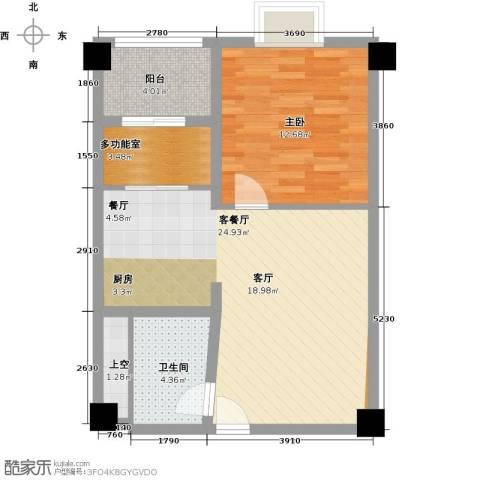 钱隆樽品三期波士堂1室1厅1卫0厨56.00㎡户型图