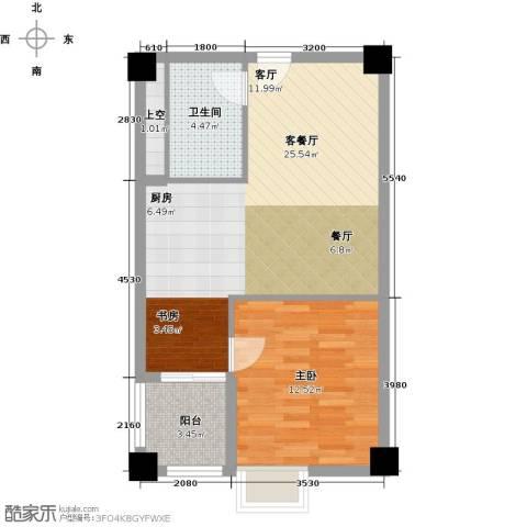 钱隆樽品三期波士堂1室1厅1卫0厨51.00㎡户型图