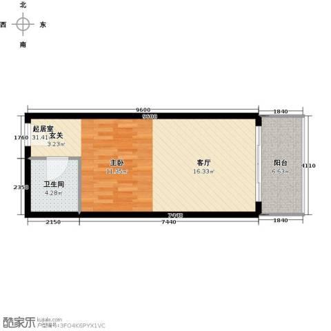新贵华城三期1卫0厨47.00㎡户型图
