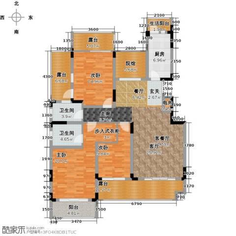 绿地海棠湾3室1厅2卫1厨135.00㎡户型图