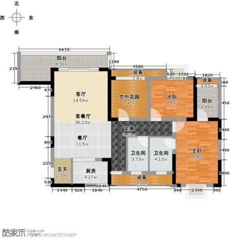 益阳富兴嘉城2室1厅2卫1厨141.00㎡户型图
