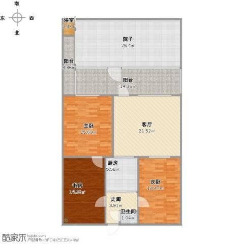 营市西街单位宿舍3室1厅1卫1厨131.00㎡户型图