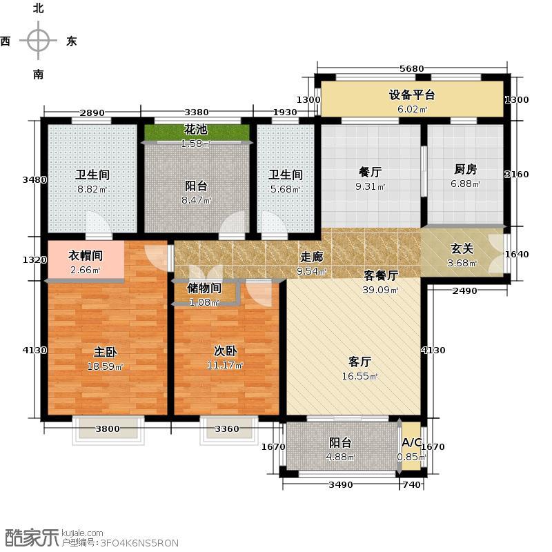 世茂运河城128.00㎡四期H户型两室两厅两卫户型2室2厅2卫