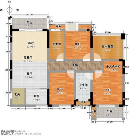 益阳富兴嘉城3室1厅2卫1厨146.00㎡户型图