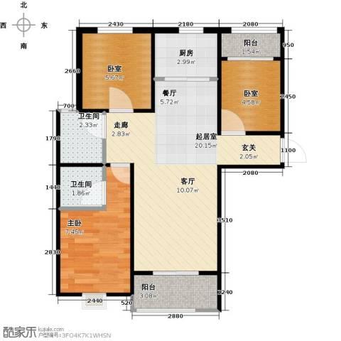 凌透花园2期1室0厅2卫1厨69.00㎡户型图