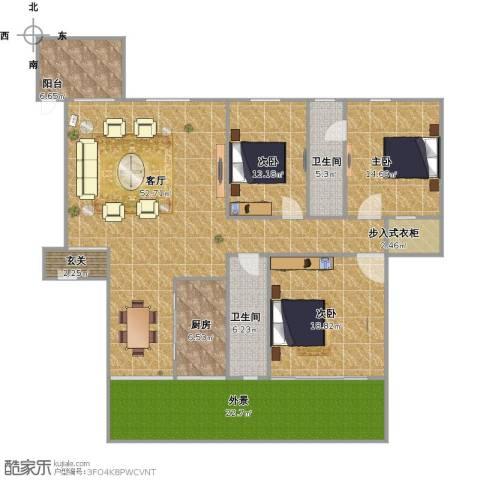 中骏天峰3室1厅2卫1厨201.00㎡户型图