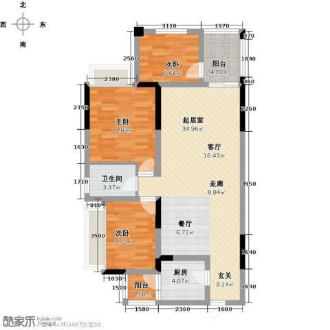 上海花园3室0厅1卫1厨85.71㎡户型图