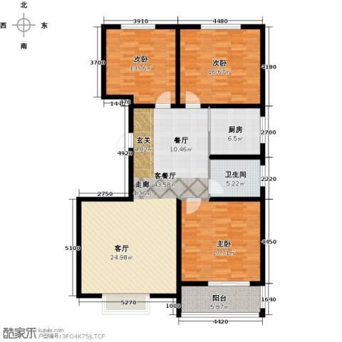 天润国际城3室1厅1卫1厨125.00㎡户型图