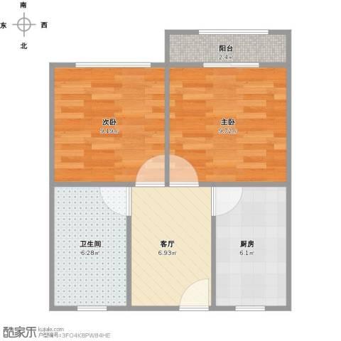 长桥五村2室1厅1卫1厨56.00㎡户型图