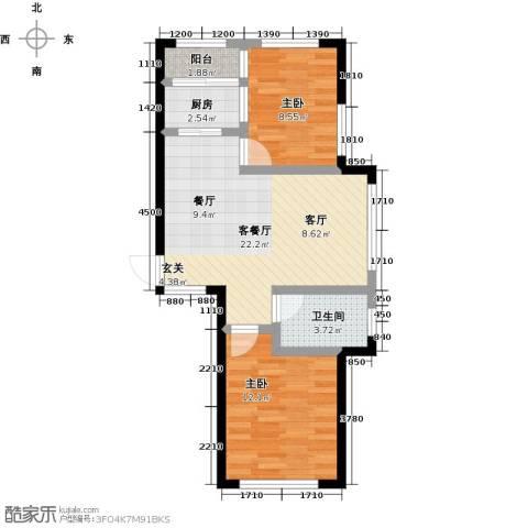 新星宇・之悦2室1厅1卫1厨77.00㎡户型图