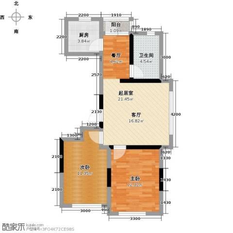 万星幸福城2室0厅1卫1厨85.00㎡户型图