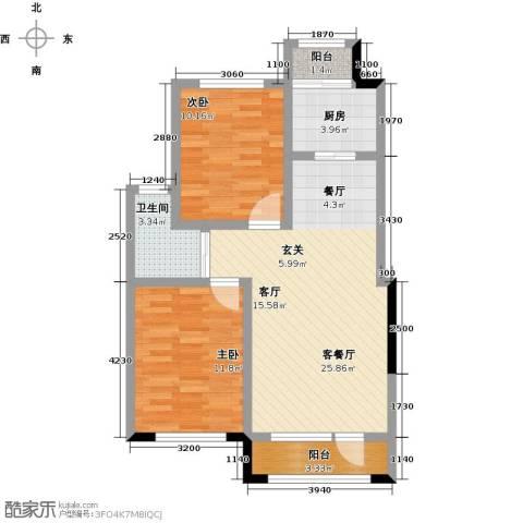 新星宇・之悦2室1厅1卫1厨87.00㎡户型图