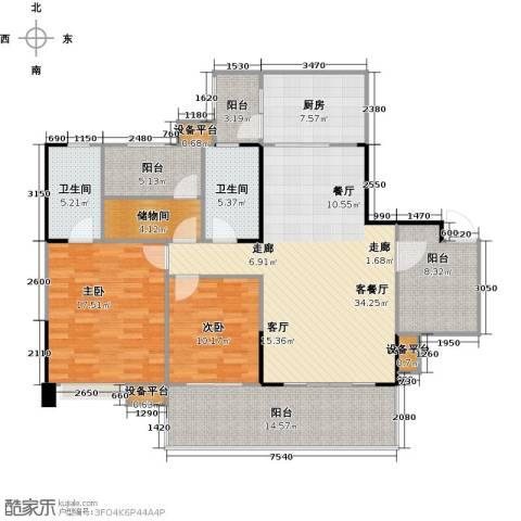 保利新天地2室1厅2卫1厨127.06㎡户型图