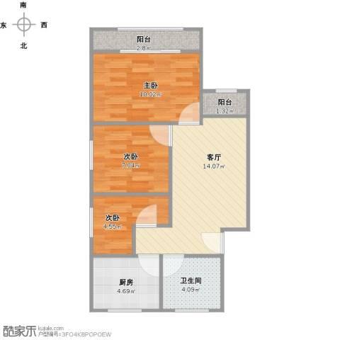 众盛公寓3室1厅1卫1厨53.68㎡户型图