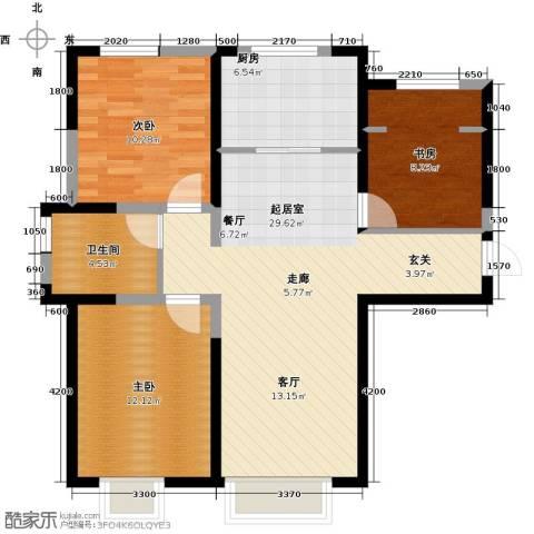 宜禾红橡公园3室0厅1卫1厨107.00㎡户型图