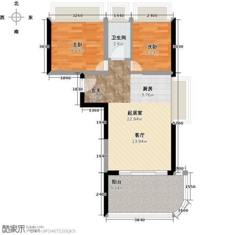 宝安虹海湾2室0厅1卫0厨77.00㎡户型图