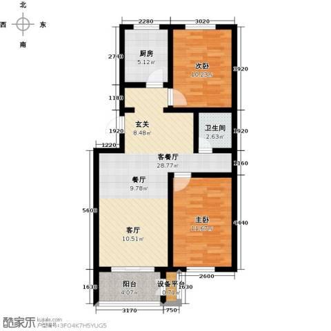 天津未来城2室1厅1卫1厨82.00㎡户型图
