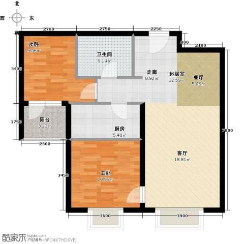 万达广场2室0厅1卫1厨93.00㎡户型图