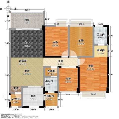 清泉城市广场4室0厅2卫1厨143.00㎡户型图