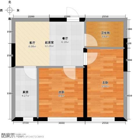 万星幸福城2室0厅1卫1厨55.00㎡户型图