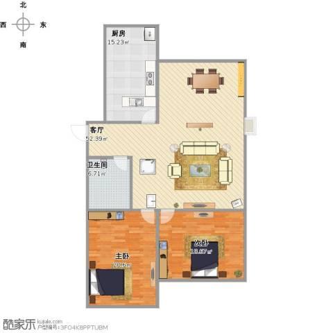 绿地国际花都2室1厅1卫1厨151.00㎡户型图
