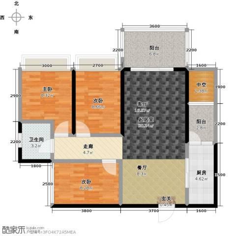 清泉城市广场3室0厅1卫1厨108.00㎡户型图