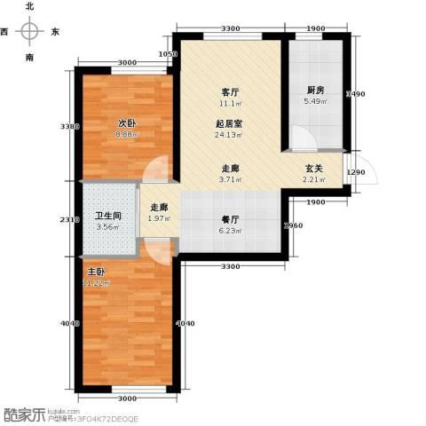 中顺福苑2室0厅1卫1厨73.00㎡户型图