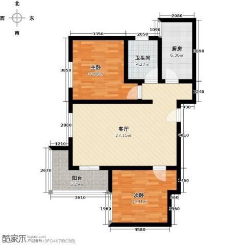 紫境城2室1厅1卫1厨96.00㎡户型图