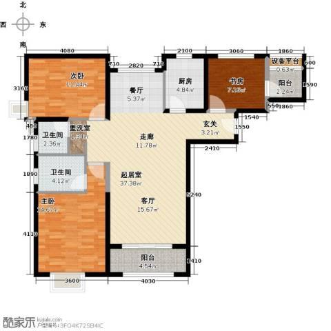 北辰红星国际广场3室0厅2卫1厨132.00㎡户型图