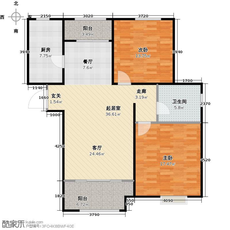 绿地新里・爱丽舍公馆98.00㎡二期A2户型2室2厅1卫1厨户型2室2厅1卫
