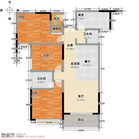 中登城市花园3室0厅2卫1厨117.00㎡户型图