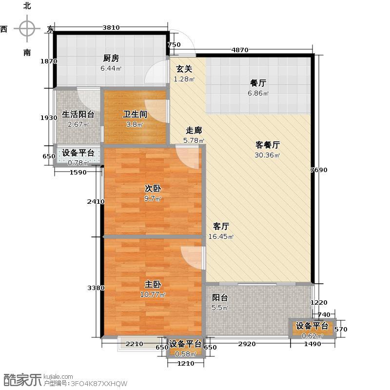 万象湾B户型 2室2厅1卫 74平 赠送11.65平户型2室2厅1卫