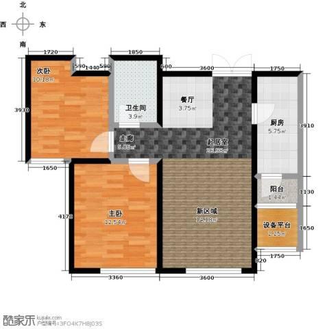 中国塘2室0厅1卫1厨87.00㎡户型图