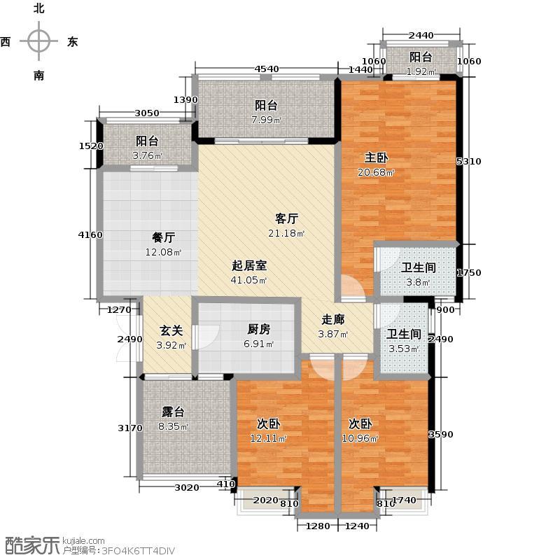 万山国际11号楼3F户型3室2卫1厨