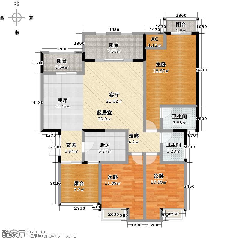 万山国际11号楼4F户型3室2卫1厨