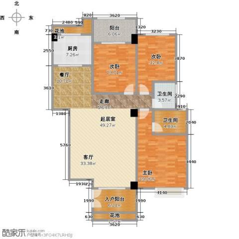 华港财富港湾3室0厅2卫1厨142.00㎡户型图