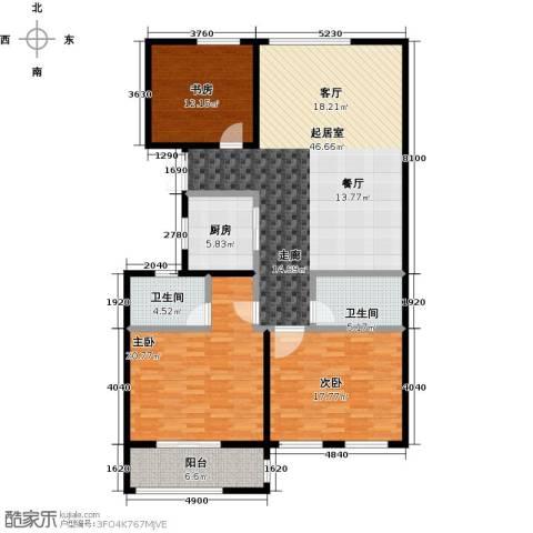 前程藏珑3室0厅2卫1厨130.00㎡户型图