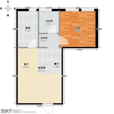 圣地秋实1室0厅1卫1厨59.00㎡户型图