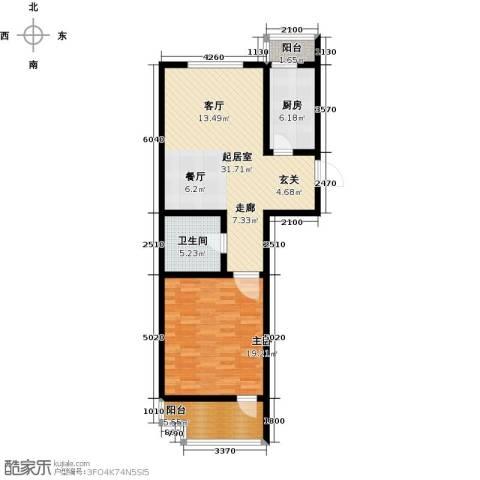 华贸 公园郡1室0厅1卫1厨69.54㎡户型图