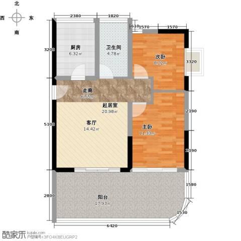 宝安虹海湾2室0厅1卫1厨86.00㎡户型图