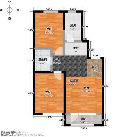 锦园2室0厅1卫1厨86.00㎡户型图
