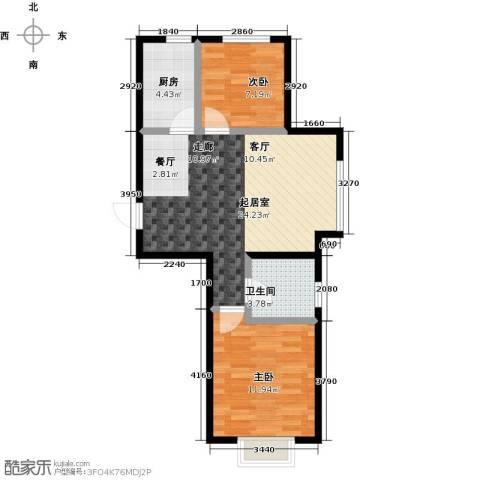 锦园2室0厅1卫1厨73.00㎡户型图