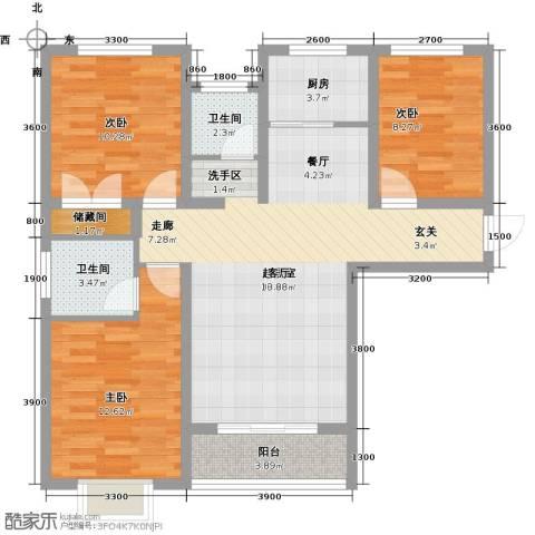 外滩森林3室0厅2卫1厨111.00㎡户型图