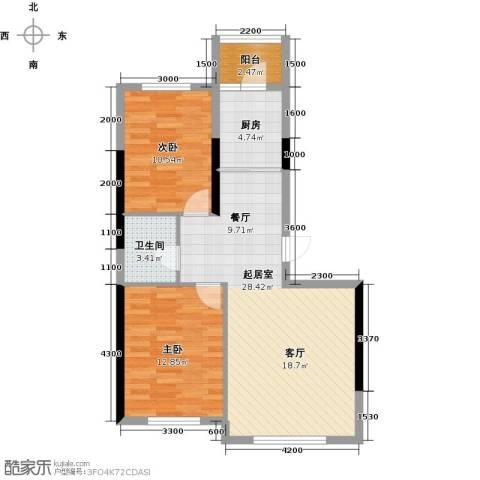 万星幸福城2室0厅1卫1厨91.00㎡户型图