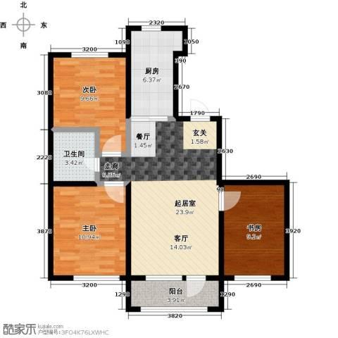 锦园3室0厅1卫1厨96.00㎡户型图