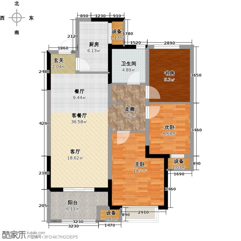 无锡万达文化旅游城102.00㎡B2户型 三室两厅一卫户型3室2厅1卫-副本