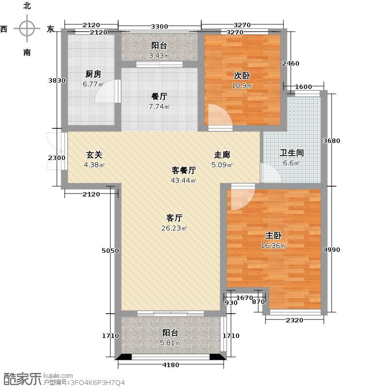翰林雅居104.00㎡翰林雅居B3 两室两厅 104平户型2室2厅1卫
