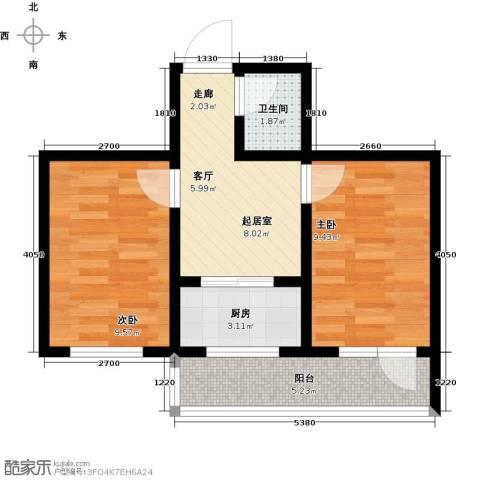 华新名筑2室0厅1卫1厨57.00㎡户型图